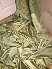 "1 MTR OLIVE GREEN/GOLD BROCADE JACQUARD FABRIC..45"" WIDE"