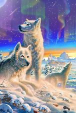 NEW TOLAND GARDEN FLAG WOLF PACK ARCTIC WOLVES & AURORA BOREALIS  12.5 x 18
