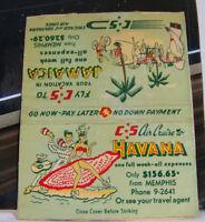 Rare Vintage Matchbook Cover K1 Airlines Jamaica Havana Memphis Tennessee Dance