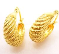 Creole Huggie Hoop Twist Shell Earrings 24K Yellow Gold White Gold Plated UK
