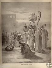 Stampa Antica = 1870= BIBBIA= MOSE' BAMBINO = Gustave DORE' = Old Print