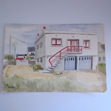Vintage water color painting white cube building architectural interest 1963