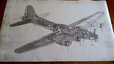 "Large Boeing B-17 Flying Fortress Blueprint 3 ft. x 5 ft.  36"" x 58"""