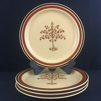 Set of 4 VTG Dinner Plates by Newcor Romantic Stoneware 152 Fruit Trees Japan