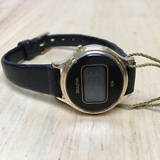 Vintage 1979 Bulova Lady Gold Tone Oval LCD Digital Watch Hours~for Parts Repair