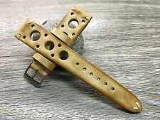 Leather Watch Band 20mm, 19mm, Beige Watch Strap, Racing Rally Watch Strap