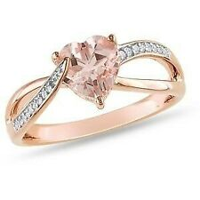 2Ct Heart Morganite Synt Diamond Solitaire Engagement Ring Rose Gold Fnsh Silver