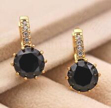 18K Gold Filled- 9mm Round Black Onyx Flower Topaz Zircon Hoop Women Earrings DS