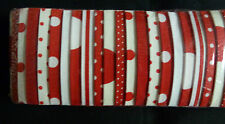 """Quilting fabric jelly roll - red & white spots and stripes - 40 strips x 2.5"""""""