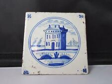 Antique Delft Blue & White Tile Large Building Scene with Boats Circa 18th C.