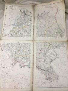 Antique Map of Russia in Europe Russian Old Hand Coloured 19th Century LARGE