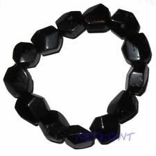 Edelstein-Armband schwarz, Turmalin, Schörl facettiert, dehnbar mit Gummizug NEU