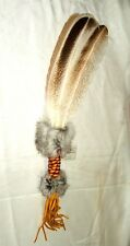 Ceremonial Dance Fan Palm Turkey Feathers Native American made Regalia WF10