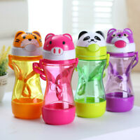 LN_ Qu_ Cartoon Animal Baby Kids Drinking Water Straw Bottle Strap Feeding Cup
