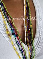 "Elegua Eleke Collar Santeria Lucumi Red & Black Crystal Mini Bead Necklace 22"""