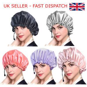 Adjustable Women Satin Bonnet Cap Night Sleep hair head cover silk