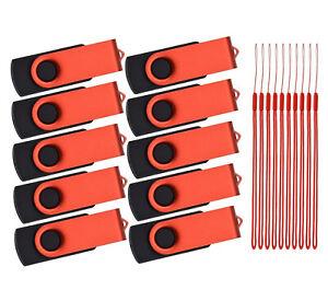 USB 1GB Pack of 10 Flash Drive USB 2.0 Memory Sticks Swivel Portable Keychain