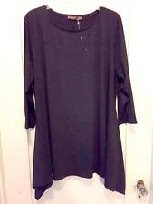 Lovely Belldini Top Black Stretchy Slinky  Studded Fish Tail Sides 1X NWT