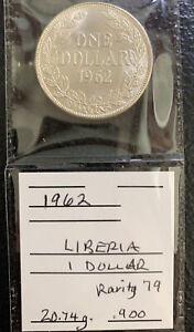 Liberia 1962 $1 BU / 21 Gr. .900 Silver  & *No Reserve!