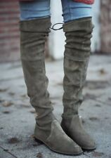 Stuart Weitzman Lowland Over the Knee Boots , Gray Suede , Size 7 M