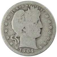 1904 Barber Quarter AG About Good 90% Silver 25c US Type Coin Collectible