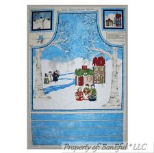 BonEful FABRIC Cotton Apron Panel Xmas Tree Winter Scenic Snowman Kitchen S M L
