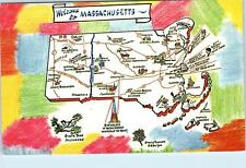 MASSACHUSETTS  Bay State  Pictorial  MAP   Postcard   1967