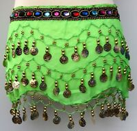 Girls Kids 3 Rows Coin Belt Belly Dance Costume Hip Scarf Skirt Dancing Wrap