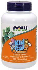 Now Foods Kid Cal, Tart Orange, 100 Chewables - Calcium, Magnesium & Vitamin D