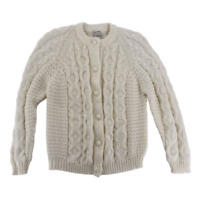 Vintage Fully Fashioned Womens Hand Loomed Cream Long Sleeve Cardigan Sweater L