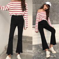 Fashion Women Skinny Flare Denim Jeans Bell Bottom Stretch Pants Trousers Black