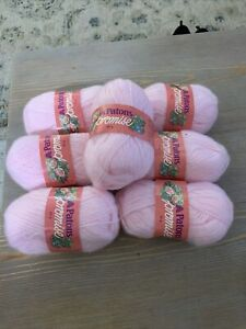 7 SKEINS VINTAGE PATONS PROMISE YARN Fuzzy Soft Baby Pink 7864