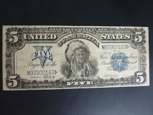 "1899 $5 ""Chief"" Federal Reserve Note Legal Tender Elliott/Burke VF++ MINT!!!!"