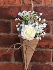 10 x Large Luxury Hessian Burlap Pew Cone Barn Vintage Rustic Wedding Decoration
