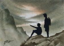 Original Miniature Painting ' Up There '  by Bill Lupton ACEO