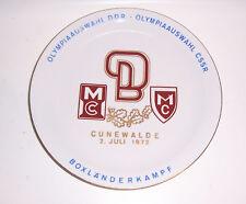 Mémoire Assiette Olympiaauswahl DDR CSSR Cunewalde 1972 Boxländerkampf