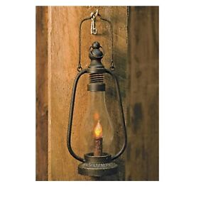 Rustic Black Metal Lantern W Led Timer Candle Rustic Farmhouse Country Decor