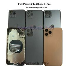 For iPhone X Replace To iPhone 11Pro Back Door Metal Glass Battery Housing Cover