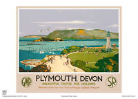Plymouth Hoe DevonLighthouseVintage PosterA1 A3 A2