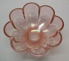 Pink Glass Flower Shaped Footed Bowl Vintage