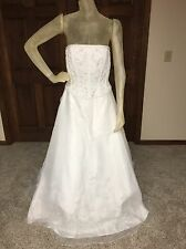 Jasmine Wedding Dress Size 12 White Beaded Strapless Ballgown