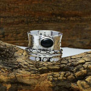 Black Onyx Gemstone 925 Sterling Silver Handmade Spinner Ring all Size