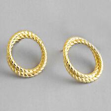 Herrlich 18K Gold Verdreht Stud Ohrringe Für Frauen Sterling Silber Schmuck