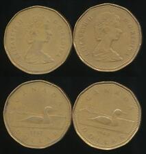 Canada, Group of 2 Elizabeth II One Dollar, $1 Coins (1987, 1989) - Very Fine
