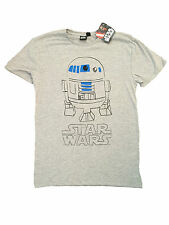 PRIMARK MENS STAR WARS R2D2 ROBOT DROID SKETCH GREY T SHIRT OFFICIAL BNWT XL