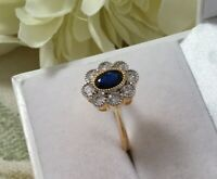 Vintage Jewellery Gold Ring with Blue and White Sapphires Antique Deco Jewelry