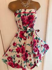 Vestido De Fiesta Y2K VINTAGE Nuevo Aspecto strpless Blanco Floral Rosa Té Talla 8