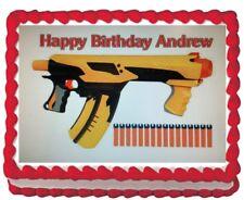Nerf Gun Edible Cake Topper Image Icing Frosting 1/4 sheet Decoration Birthday