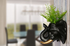 2 in 1 White Faux Taxidermy Black Elephant Gold Tusks Pot Wall Hanging Plant Pot