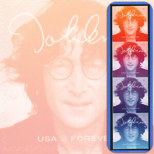 2018  JOHN LENNON  Music Icon Series  USPS Forever®  Strip of 4 attached stamps